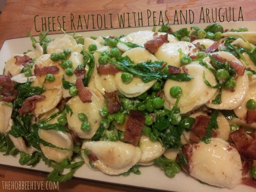 cheese-ravioli-with-peas-and-arugula-recipe