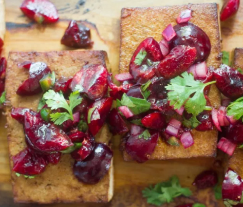 grilled-tofu-with-cherries