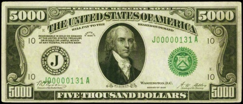 Image result for 5000 dollar bill