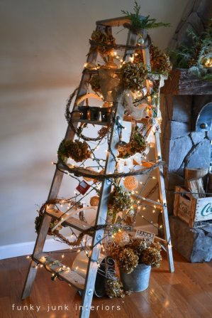 Funky Junk's treeless Christmas ladder tree